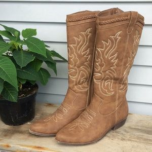 JUSTFAB brown western zip up cowgirl boots Size 10